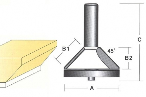 Chamfer Bit Router Edge Forming Inverted Chamfer Dual Flute